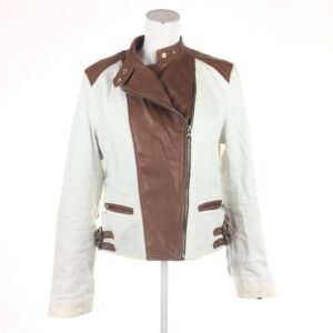 Skinnjacka, Ralph Lauren, stl L, vit brun skinn jacka